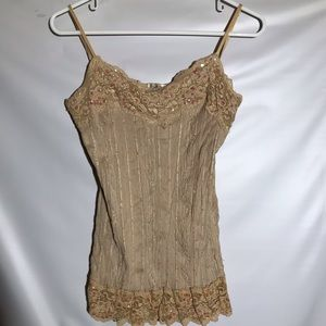 Studio Y Tank Top with Lace and Sequin Embellished